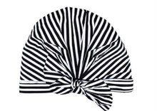 Load image into Gallery viewer, Elevated shower cap|| white and black stripe
