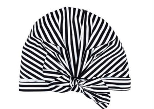 Elevated shower cap|| white and black stripe