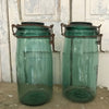 Green Glass Storage Jars