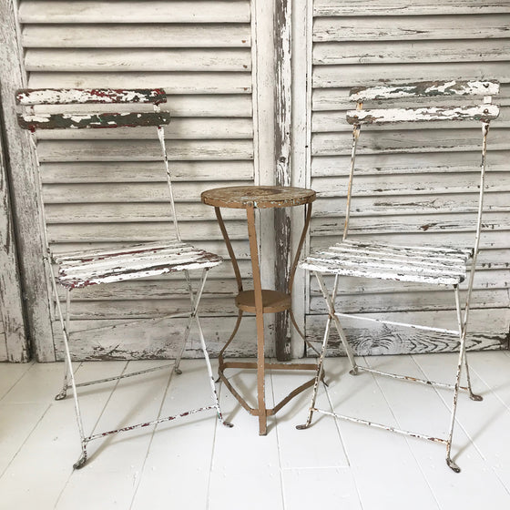 Pair of French folding cafe chairs