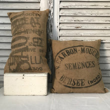 Typographic sack cushions