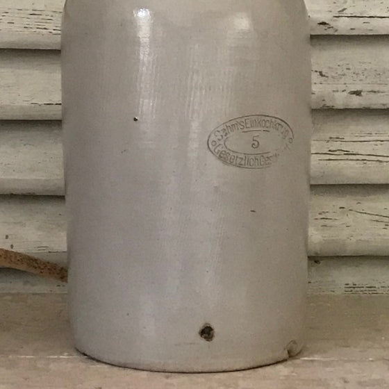 Tall Grey Stoneware Pot