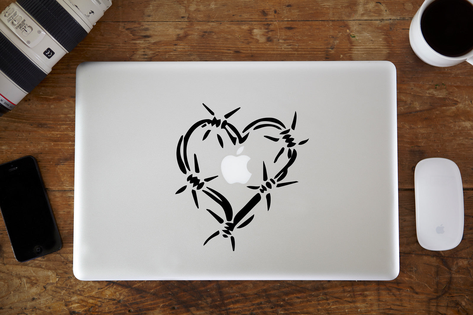 Barbed Wire Heart MacBook Decal | Vinyl Infusion | Vinyl Infusion