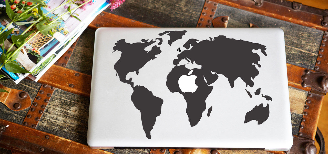 World Map Macbook Decal