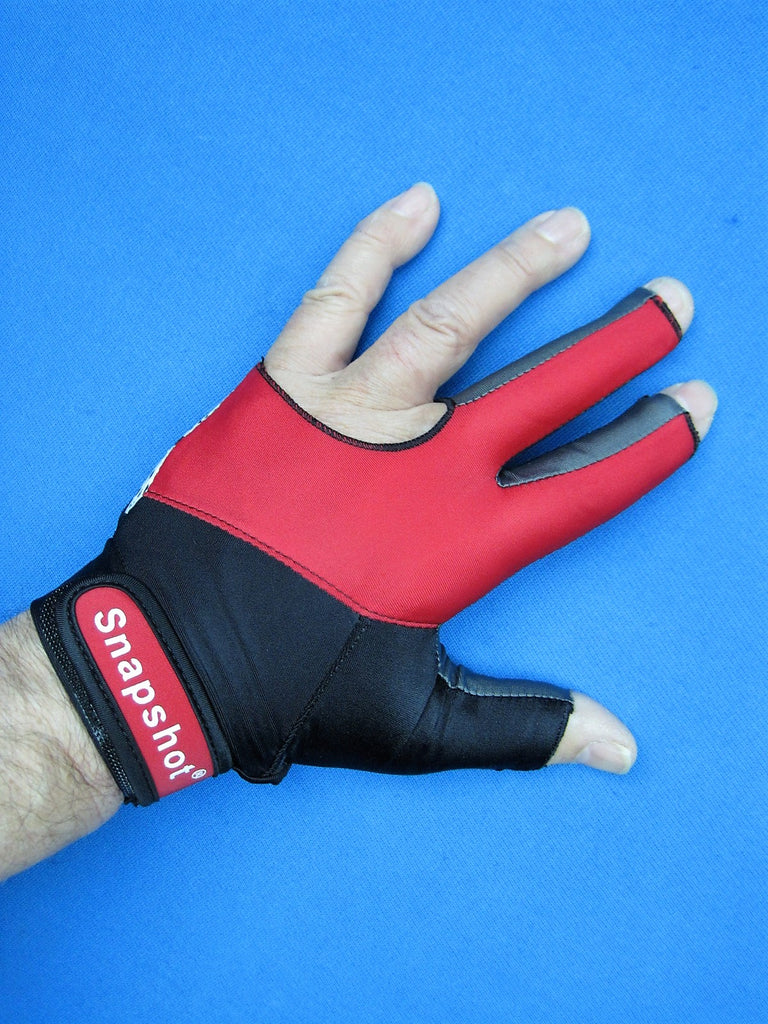 NEW! RED/BLACK SNAPSHOT® PRO SERIES BILLIARD GLOVE-LEFT OR RIGHT HAND