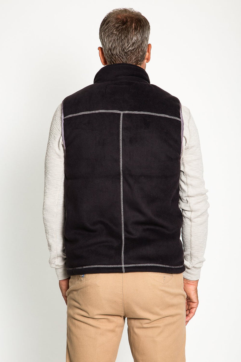 Bonded Polar Fleece & Sherpa Vest - Black