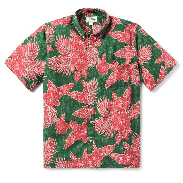 Hibiscus Fronds Christmas Button Down
