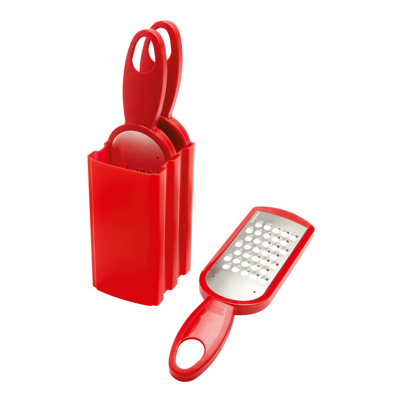 Swiss Grater Set of 3 with Storage Caddy Red
