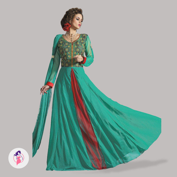 Green Ethnic Long Party Gown