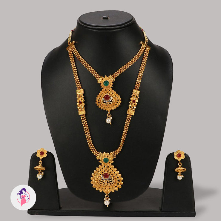 Bollywood Style Gold Plated Green And Red Kundan Necklace Set