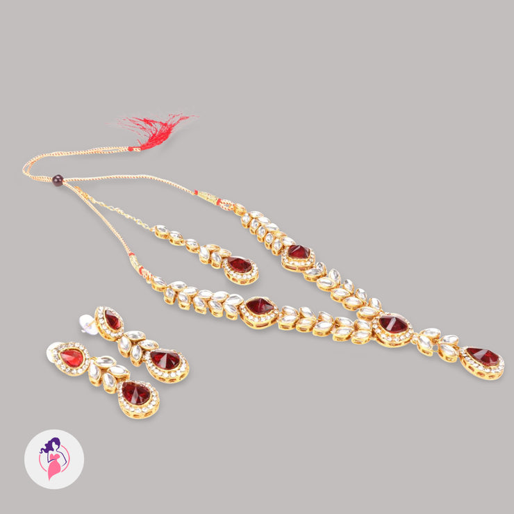 Red Stone Gold Plated Kundan Necklace Set
