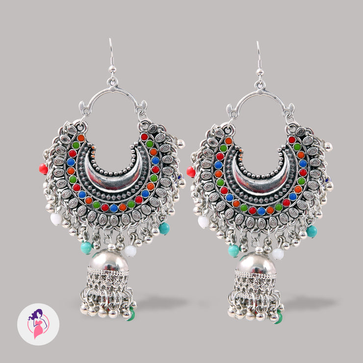 Multicoloured Silver Plated Jhumki Earrings