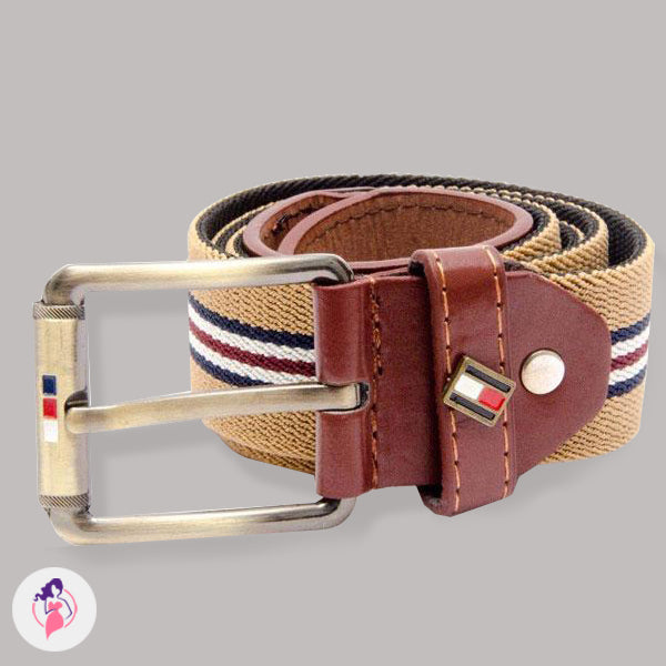 Brown Striped Artificial Leather Belt