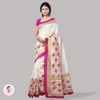Off-White Floral Print Art Silk Saree