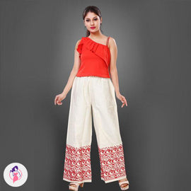 Self Print Patterned Straight Pant