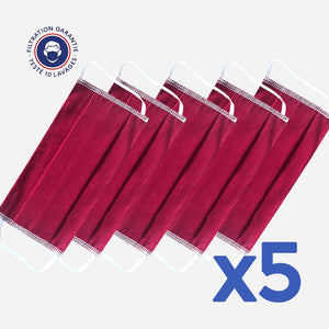 lot de 5 masques couleur bordeaux