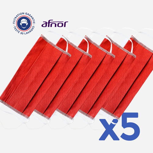 lot de 5 masques couleur rouge