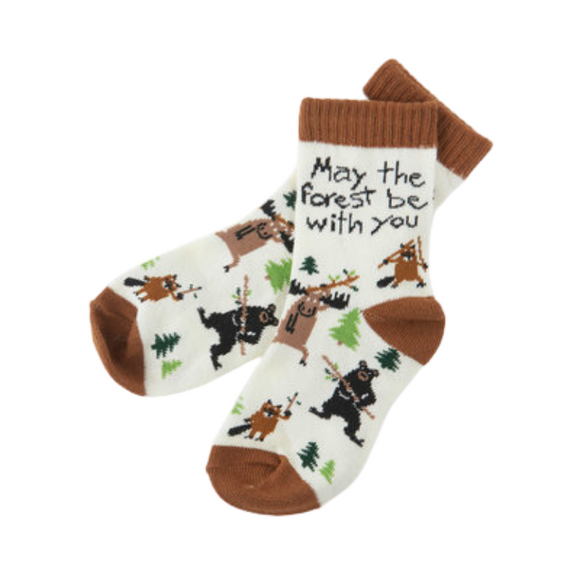 Chaussettes blanches avec motifs d'animaux sauvages MAY THE FOREST BE WITH YOU