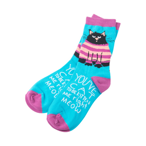 Chaussettes roses et bleues avec motif de chat noir YOU'VE CAT TO BE KITTEN ME RIGHT MEOW