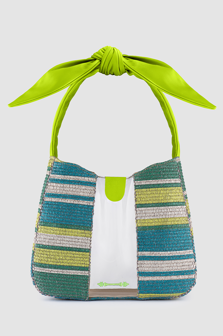 OkhtiBow Tote Striped Green Raffia