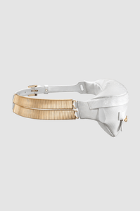 Banana Belt Bag White Python Gold