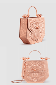 Palmette Hexagon Minaudière Rose Gold Brass