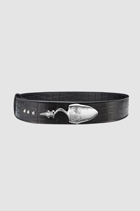 Snake Strich Belt Black Crocodile Silver