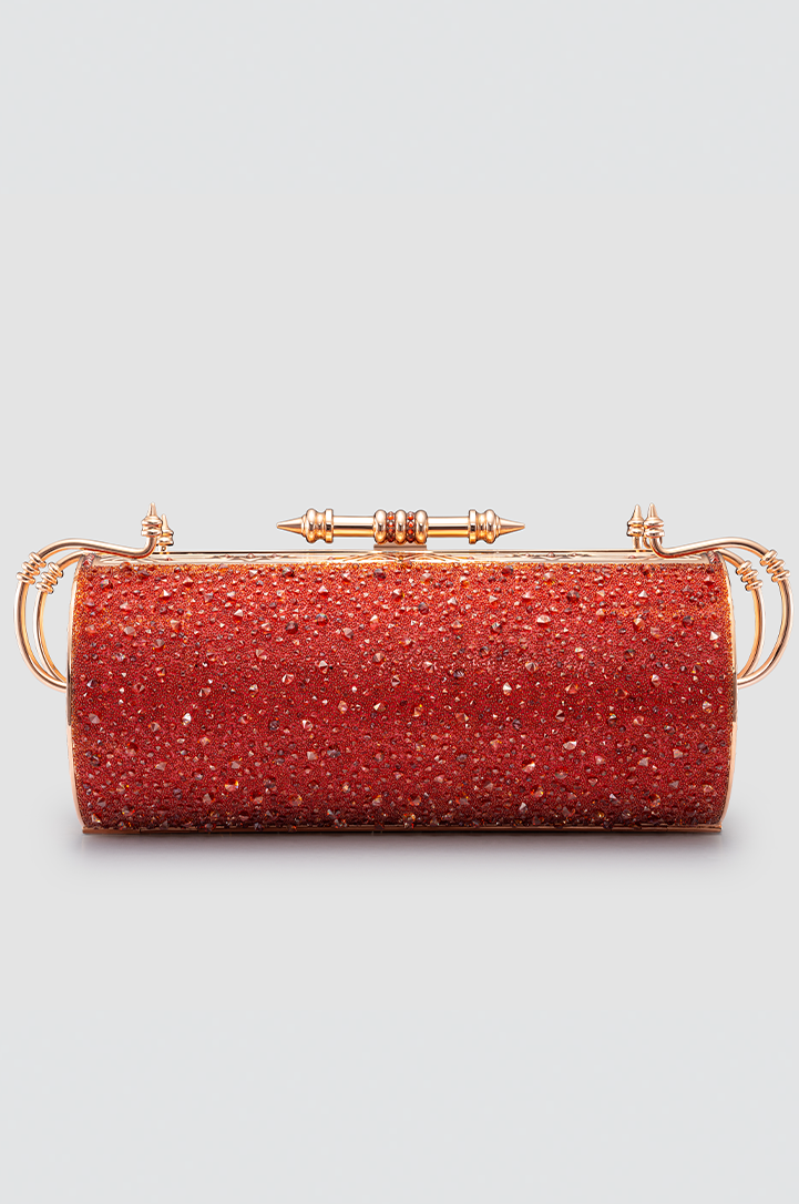 Felucca Red Rose Mesh Swarovski Crystal Clutch