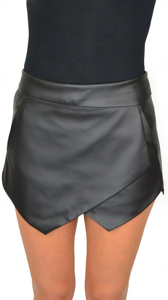 Leather Skorts- Black
