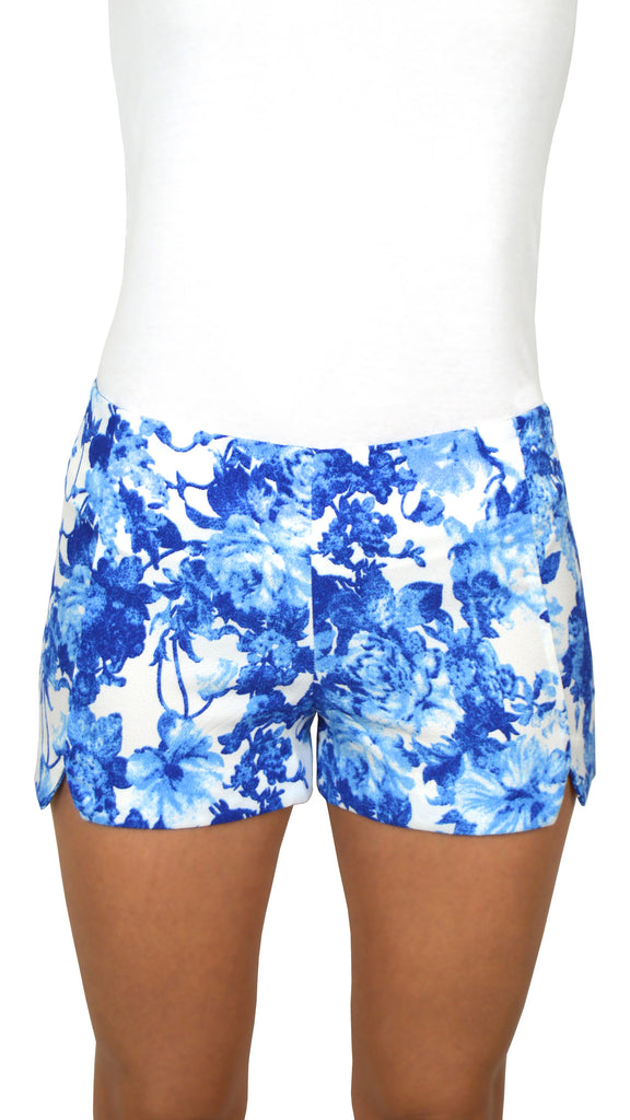 Floral White & Blue Shorts