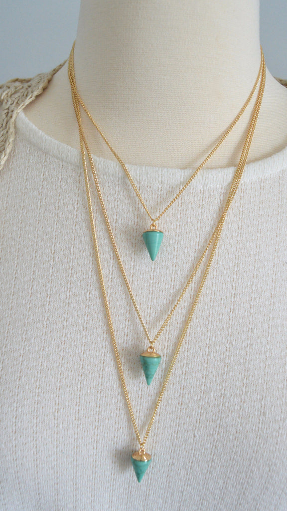 Three-Layer Turquoise Drop Necklace