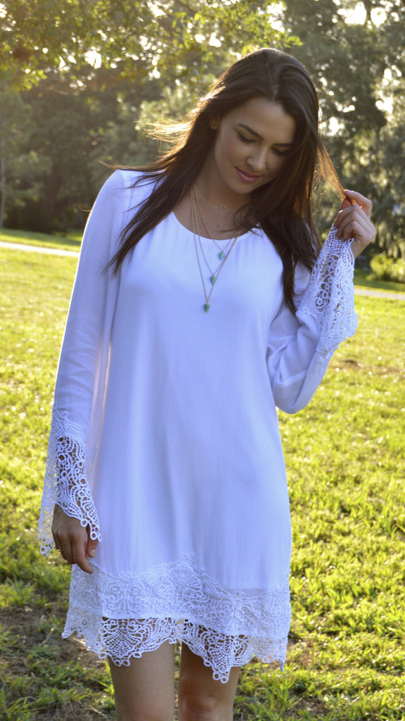 Crooked Halo White Lace Dress