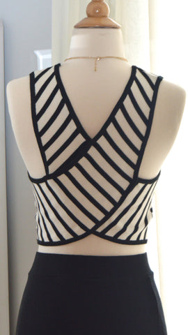 To The Beat Striped Crop Top