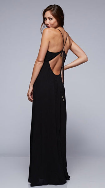 Talia Tie Black Backless Maxi