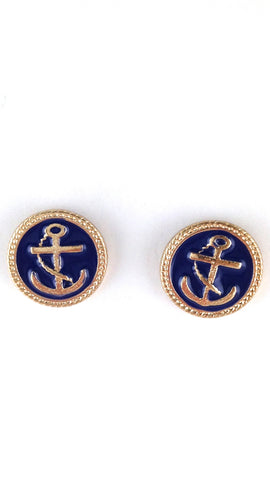 Navy Blue & Gold Anchor Studs