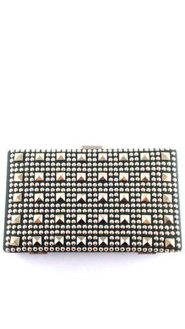 Emerald Green & Gold Studded Clutch