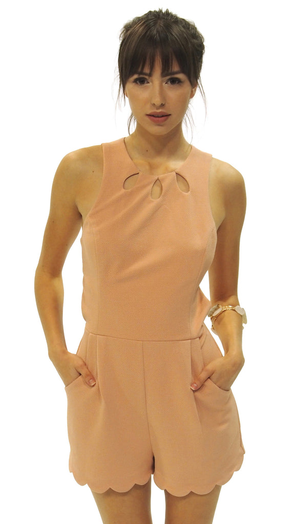 Peachy Perfect Scalloped Romper