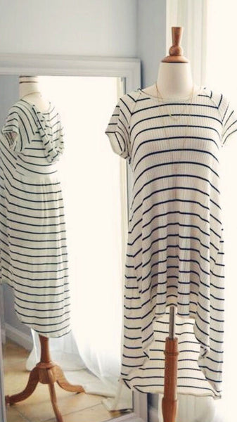 Just in Time Striped Hooded Dress