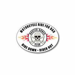 "Busted Bones Oval Decal 6"" Bike Down Rider Not"