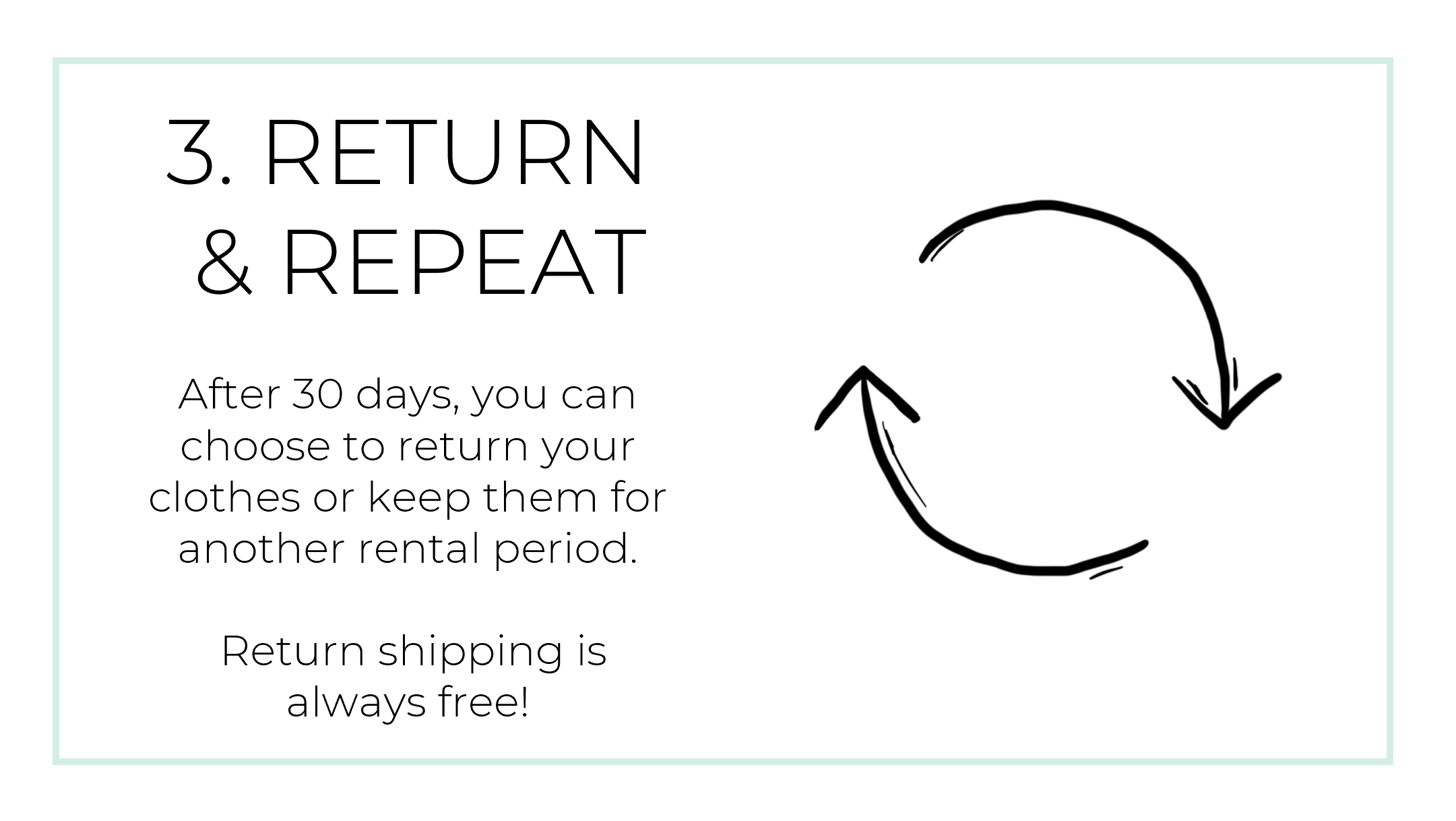 After 30 days, you can choose to return your clothes or keep them for another rental period.