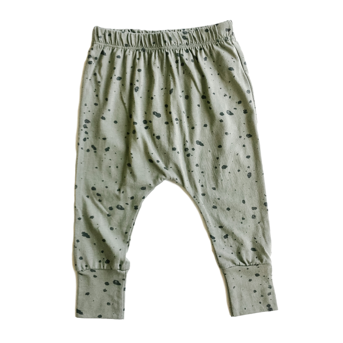 Green Splatter-Print Pants