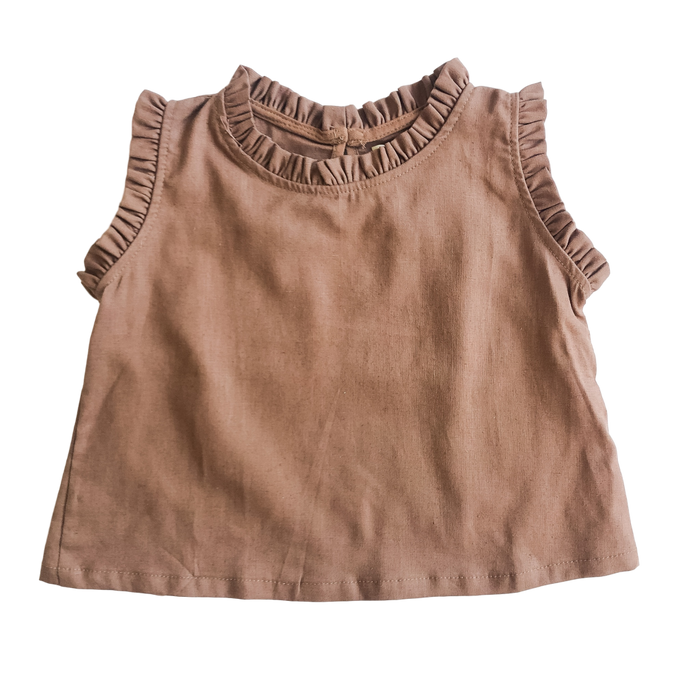 Brown Sleeveless Ruffle Tank