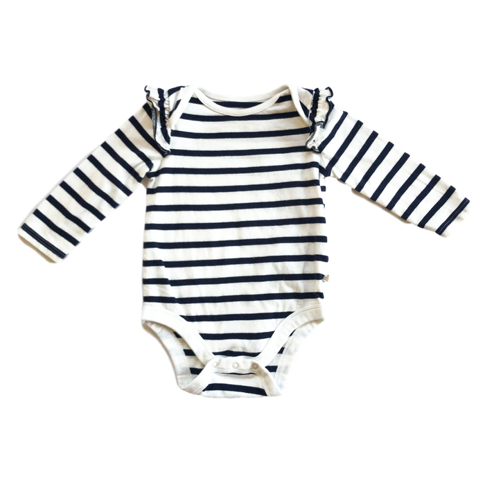 Long Sleeve Striped Ruffle Sleeve Onesie