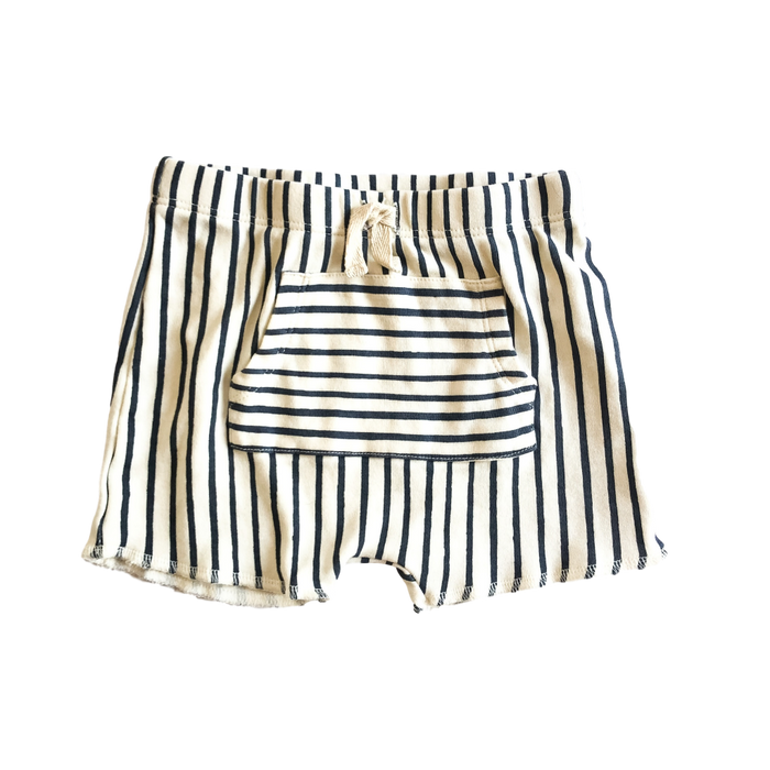 Navy Stripe Shorts with Pocket