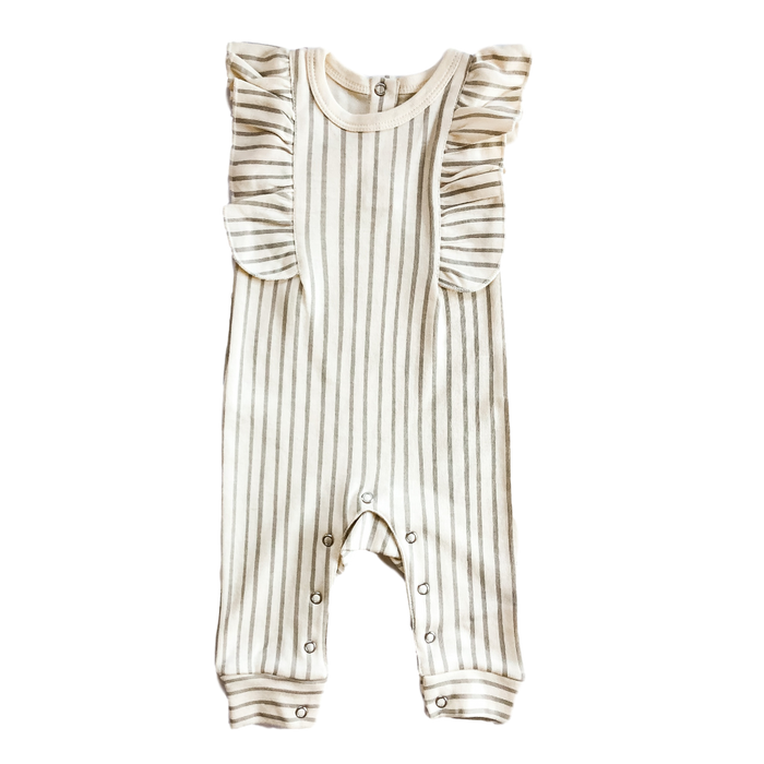 Grey/White Stripe Ruffle Jumpsuit