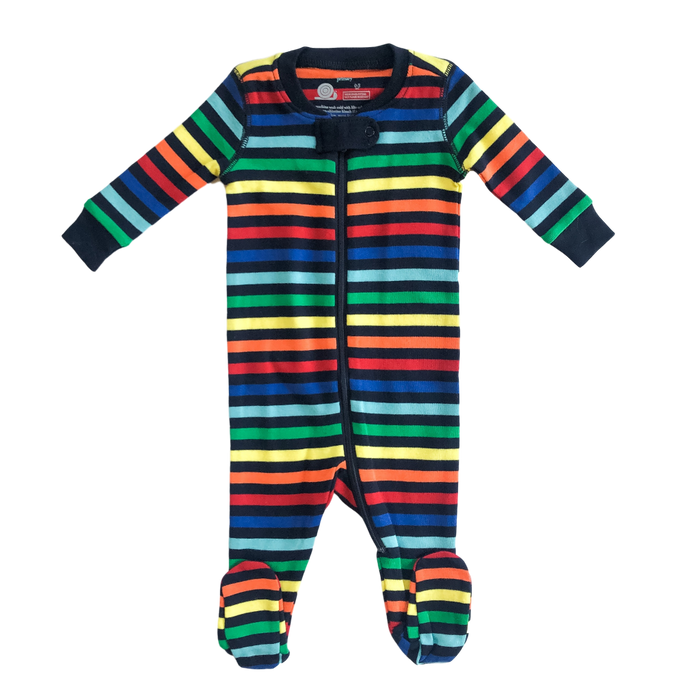 Rainbow Stripe Zip Pajamas