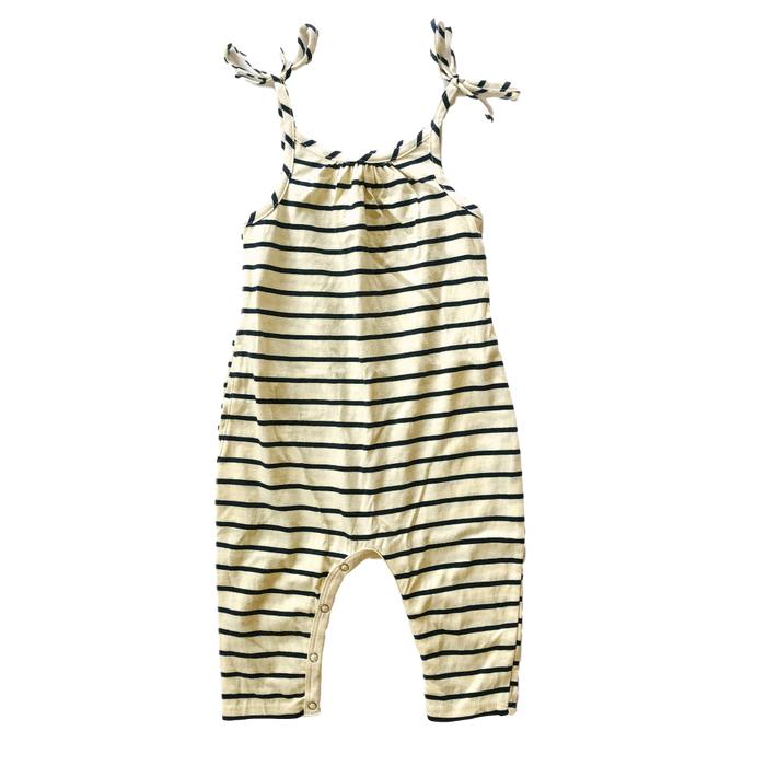 Tie-Strap Striped Jumpsuit