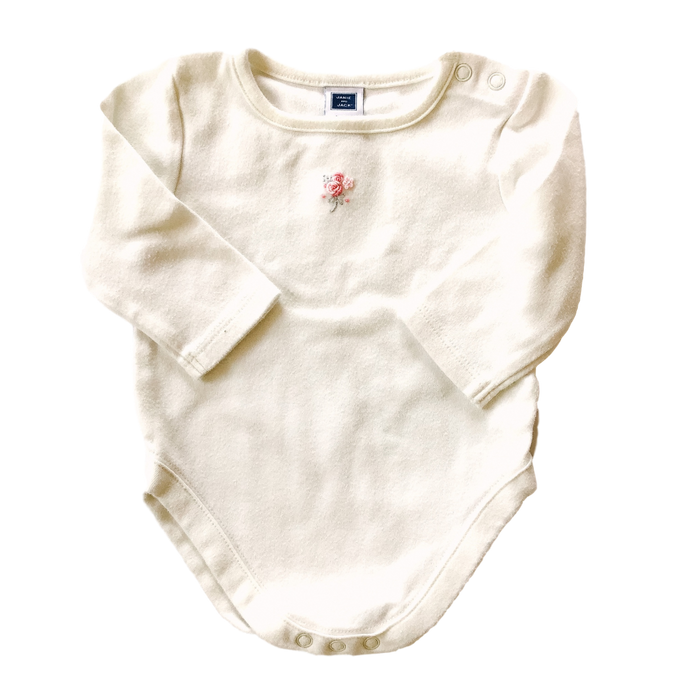 Long Sleeve Onesie with Embroidered Rose