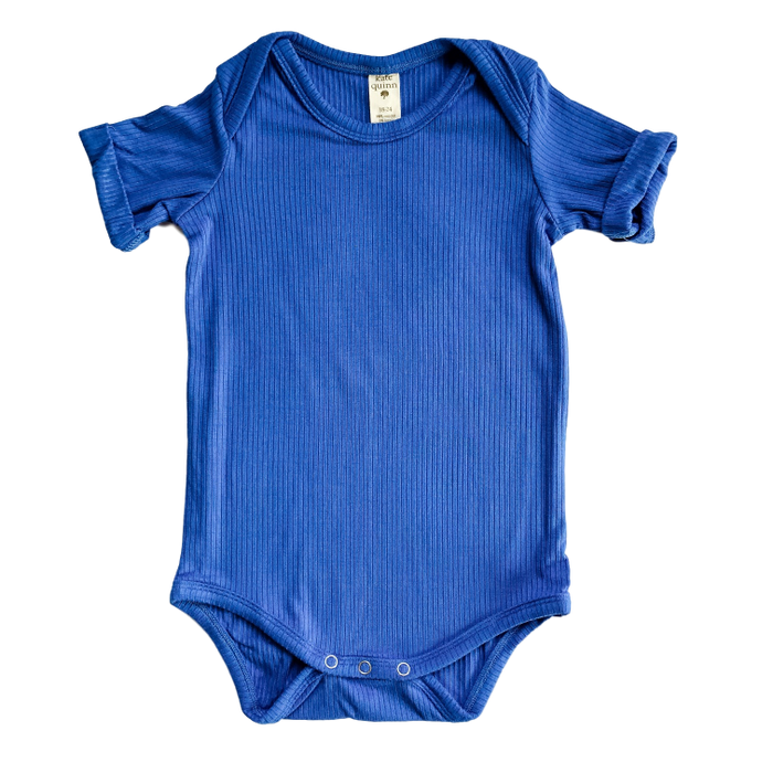 Royal Blue Ribbed Onesie with Rolled Sleeve