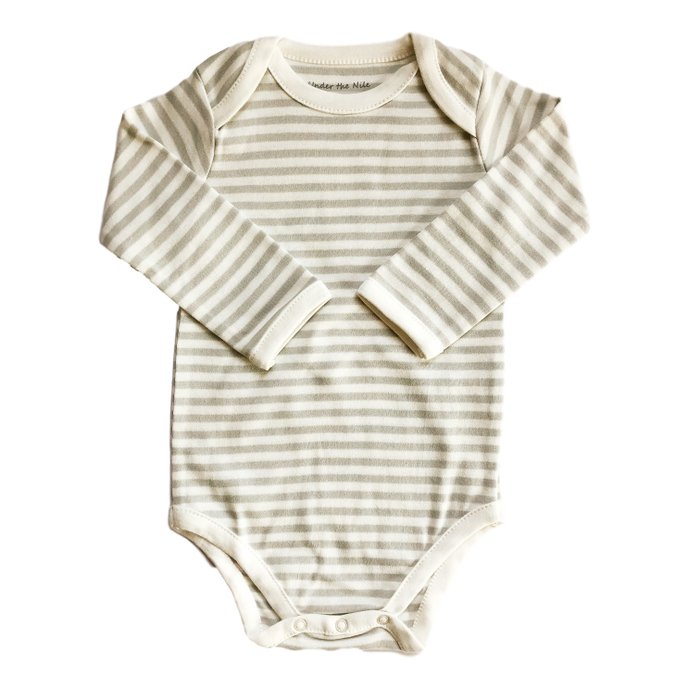 Long Sleeve Onesie with Grey Stripes